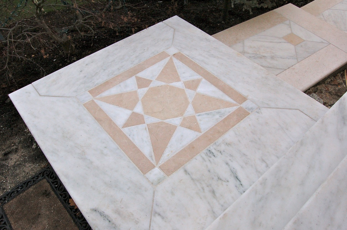 Marble landing with inlay design