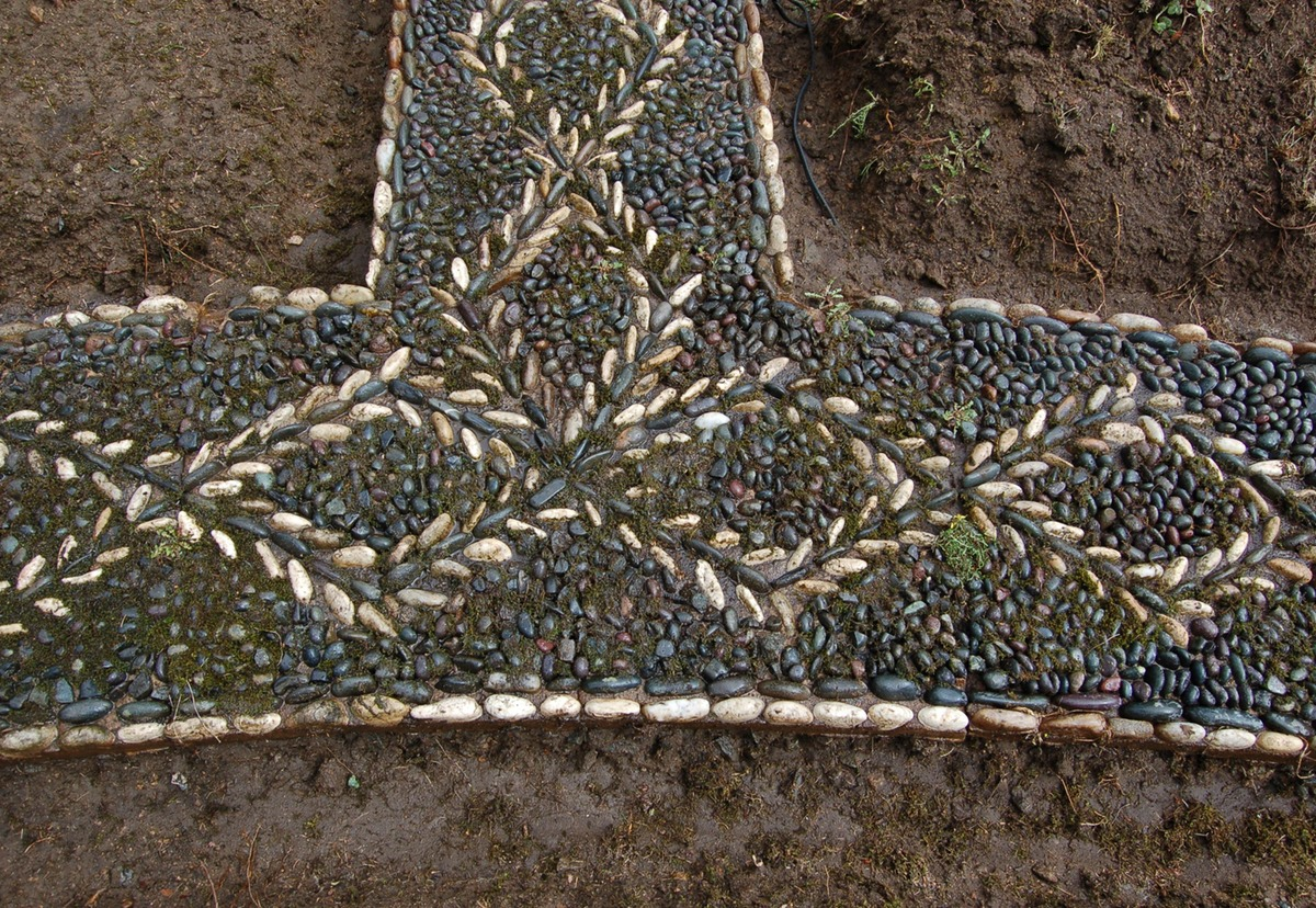 pebble mosaic path before restoation