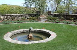 Concrete pond with granite coping
